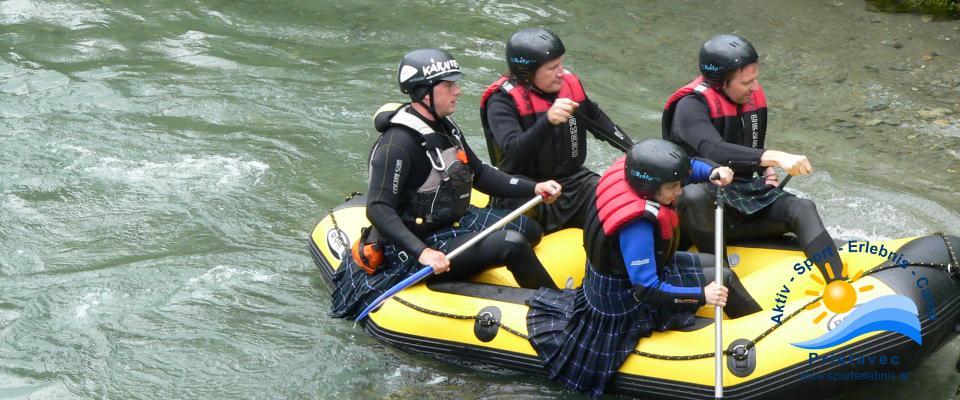 Rafting mit Kärntner Mode auf Kärntens Flüsse